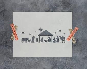 Nativity Stencil - Reusable DIY Craft Christmas Stencils of a Nativity Scene
