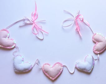 Pink and Iridescent Sequin Trim Felt Love Heart Baby Nursery Bunting Garland Sparkle Baby Girl Silver Grey Glitter Baby Shower Gift Princess