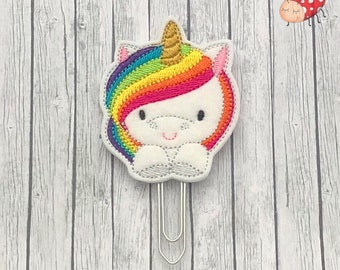 Over size unicorn planner clip, paperclip, office supplies, planner accessory, organiser accessories, embroidered, study, paperwork,