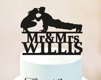Wedding Cake Topper,Military Wedding Cake Topper,Silhouette Military Groom & Bride, Officer, Uniform Cake Topper,Welcome Home Soldier (1128)