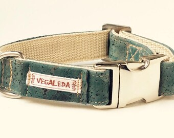 Dog collar, Missisippi Green, vegan, 2, 5 cm wide, various sizes, adjustable buckle 39,00 euro
