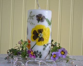 La Fleur Candles, Flower Candles, Layered Flower Candles, Spring Candles, Gifts, Dried Flower Candles, Pressed Flower Candles, Decorative.