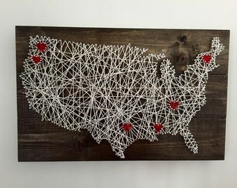 Rustic United States string art map with hearts - medium size