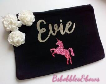 Personalised Make Up Bag, Wash Bag Wedding Gift, Bridal Party, Bridesmaid Gift, Birthday, Christmas, stocking filler, cosmetic bag,unicorn