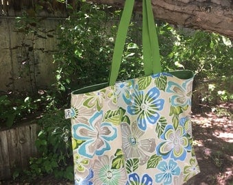 PoochCrafts mammas and the pappas blue/green flower tote