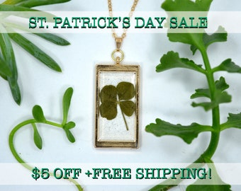 "SALE! Genuine 4 Leaf Clover Rectangle Necklace [AC 009] /Rose Gold Tone 18"" Necklace / White Clover Pendant/Triforium Repens/Good Luck Charm"