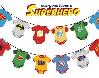 Superhero baby bunting - baby shower