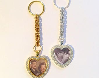 Heart keyring with rhinestones