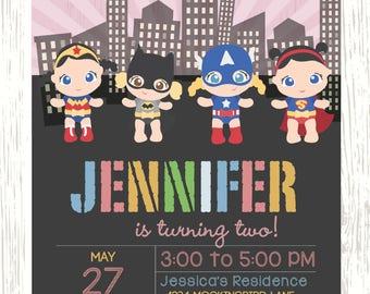 Supergirl Babies Birthday Invitation Wonder Woman Batgirl Captain America Supergirl