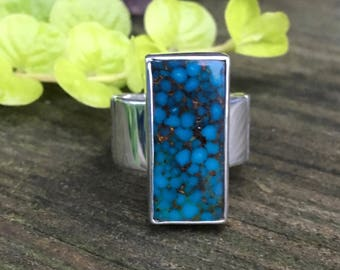 Kingman Turquoise Sterling Silver Ring, Sterling Silver Ring, Turquoise Ring, size 8