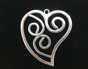 Heart Charm Pewter Alloy Silver Metal, PC-HRT-065