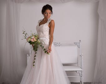 Bohemian 2-piece Lace Wedding Dress, Bohemian Wedding Dress ,Ivory Nude Wedding Dress , Bridal Separates-Melany
