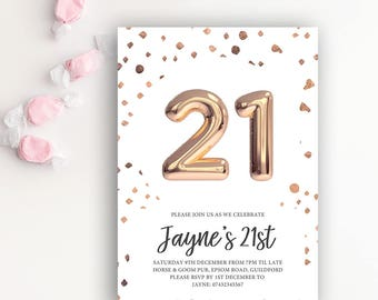 21st Birthday Printable Rose Gold Balloon Invitation & White
