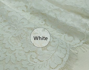 White Flower Lace Fabric Lace Trim 59.05 Inches Wide 1.64 Yards/ Craft Supplies, WL1436