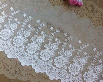 Vintage White Cotton Embroidered Flower Lace Trim 7.87 Inches Wide   1.09 Yard/ Craft Supplies, WL1740