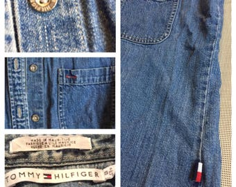 90s Tommy Hilfiger Denim Sleeveless Shirt, button down, collar, raw destroyed sleeves and hem A4