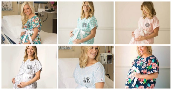 Monogrammed Labor Gowns..Personalized Delivery Gowns..Cute