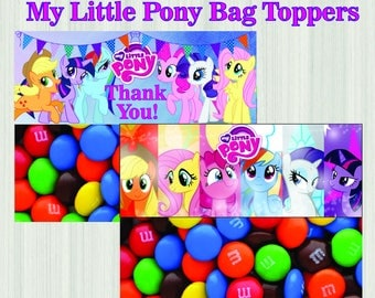 My Little Pony Favor Bag Toppers, Chalkboard Party My Little Pony Ziptop Topper, My Little Pony Treat Bag Topper - PERSONALIZED