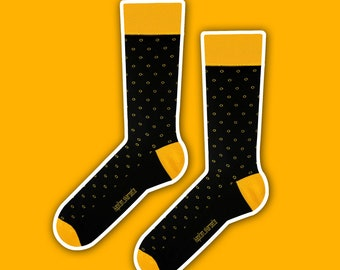 Sean - elegant yellow polka dot socks | gift socks | wedding socks | business socks | men socks | dress socks | black socks | casual socks