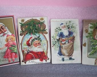 Four vintage Santa postcards, Germany