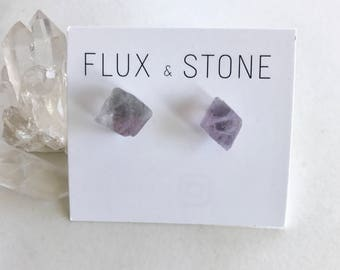 Fluorite Gemstone Studs // Semiprecious Stone Earrings