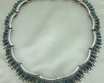 Vintage Sterling Silver and Petit Point Malachite Choker Necklace Mark TC-92