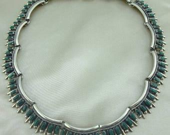 Vintage Sterling Silver and Petit Point Malachite Choker Necklace Mark TC-92