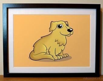 Golden Retriever Print, Dog Lover, Golden Retriever Gift, Dog Lover Gift, Golden Retriever Portrait, Cartoon Golden Retriever Print