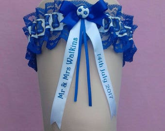Everton Personalised Wedding Garter with Blue Lace