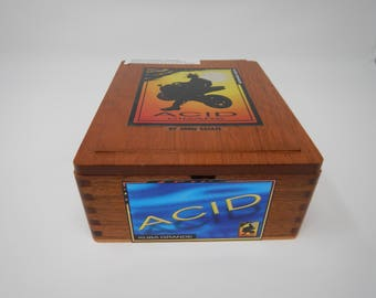 Wooden Cigar Box, Acid Cigars by Drew Estate, Kuba Grande, Brown Cigar Box