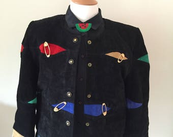 Vintage Multicoloured Jacket With Safety Pin Details