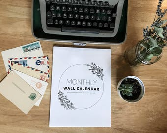 12 Month Wall Calendar -Blank - Eco-Friendly - Printed on Recycled Card Stock Paper  - Floral, Calligraphy, Hand Lettering