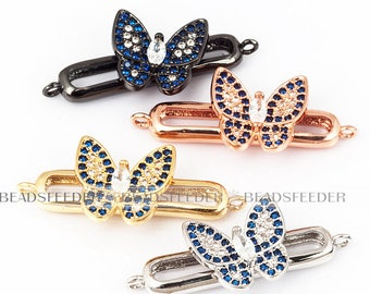 Movable butterfly on a oval bar connector, CZ Micro paved,blue CZ Micro pave findinging/Cubic Zirconia CZ connector,31.5mm,1pc