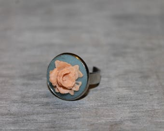 Adjustable silver ring flower cameo cabochon