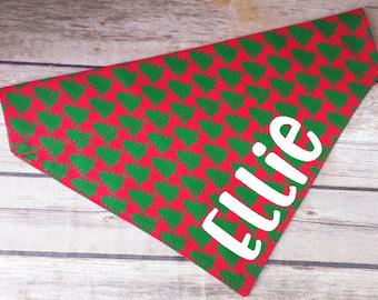 Christmas Tree Dog Bandana / Red Dog Bandana / Green Cat Bandana / Personalized Dog Scarf / Over the Collar / Dog Lover Gift / Pet Name