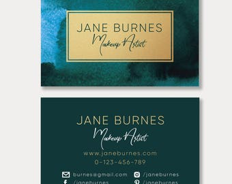 Watercolor and Gold Business Card, Emerald Watercolor and Gold Business Card,Virid Watercolor and Gold Business Card,Personal Business Cards