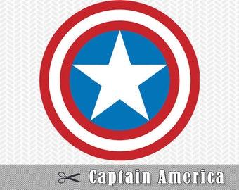 Captain America Superhero SVG DXF Logo Vector Cut File Silhouette Cameo Cricut Design Template Stencil Vinyl Decal Heat Tshirt Party Supply