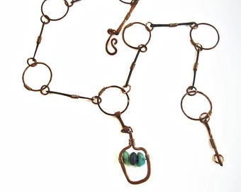 Funky Handmade Necklace with Turquoise and Onyx