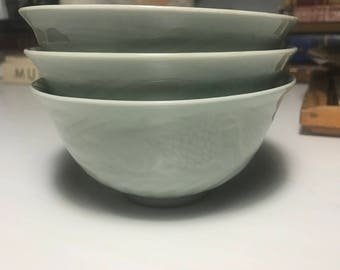 Vintage Chinese Longquan Celadon Rice Bowls (3)