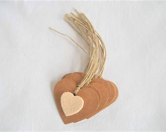 12 tags kraft heart with apply rubber eva glitter