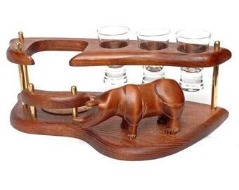 Bottle And Glasses Holder Rhinoceros, Wooden Mini Bar With 3 Glasses,  Tequila, Liquor