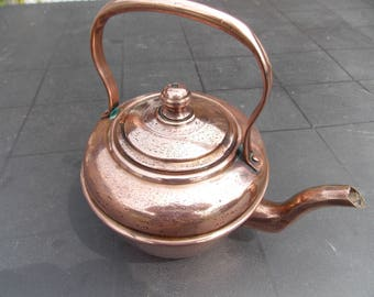 Vintage French Copper teapot , handmade copper