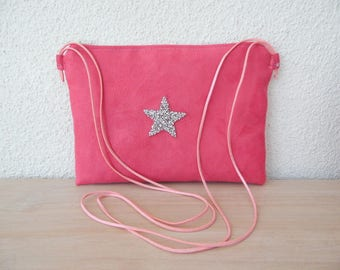 Clutch bag pink and Silver Star