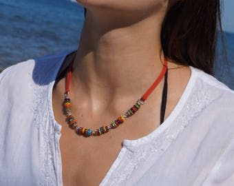 Necklace  Shell necklace Colorful necklaces Summer necklace Beaded necklaces