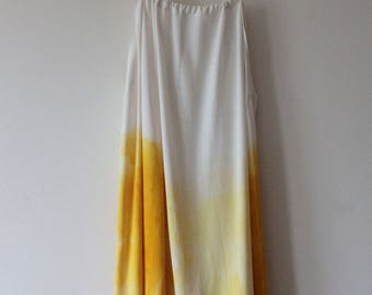 Naturally-dyed yellow/two-tone silk slip dress - handmade ecofashion