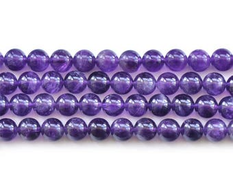 Natural A grade Amethyst round loose gemstone beads strand 16'' 4mm 6mm 8mm 10mm