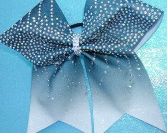 Dark teal and white sublimated Cheer Bow with Rhinestones
