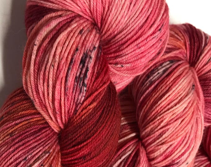 100g Superwash Merino / Nylon Sock Yarn 4 ply, fingering, hand dyed in Scotland, red, burgandy, black speckle, 'Suntie's beets'