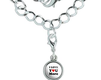 I Love You More with Heart Silver Plated Bracelet with Antiqued Charm