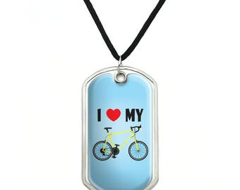I Love My Bike Road Bicycle Cycling Military Dog Tag Pendant Necklace with Cord